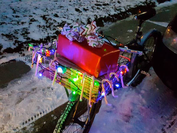 Giving a cyclist a connection to a statewide cycling community and an opportunity to help improve the climate for cycling in the state? A NeBA membership is a no-brainer! (Thanks to the Western Nebraska Bicycling Club for this picture from the Gering Christmas parade.)
