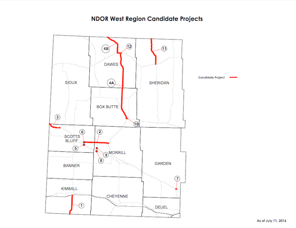 NDOR west region candidate projects