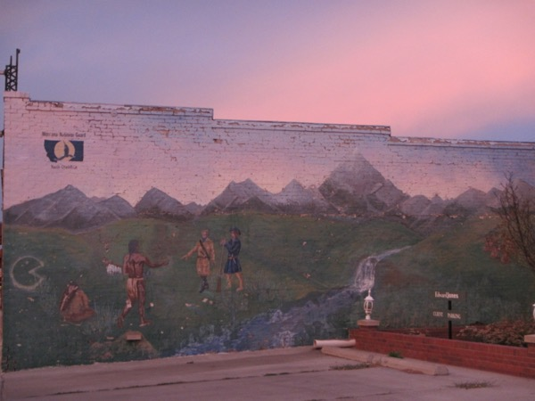 49 mural and sunset